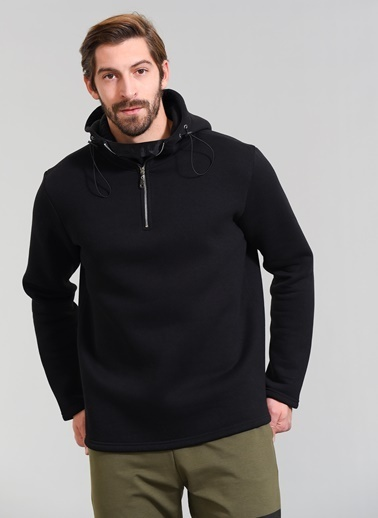 People By Fabrika Kapüşonlu Sweatshirt Siyah